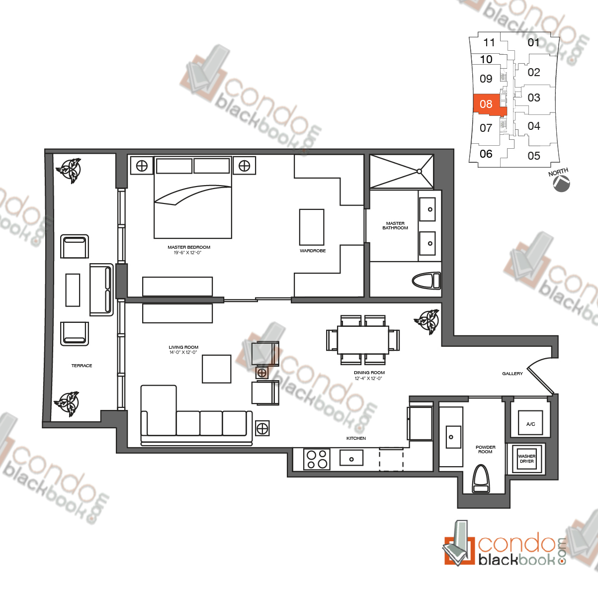 Floor plan for 1010 Brickell Brickell Miami, model H, line 08, 1/1.5 bedrooms, 988 sq ft