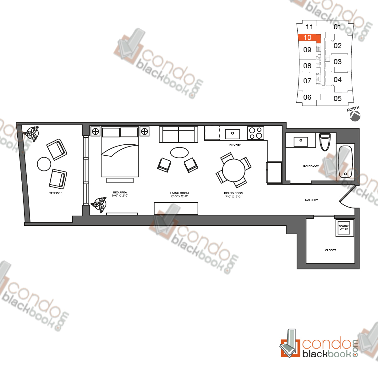 Floor plan for 1010 Brickell Brickell Miami, model I, line 10, 1/1 bedrooms, 646 sq ft