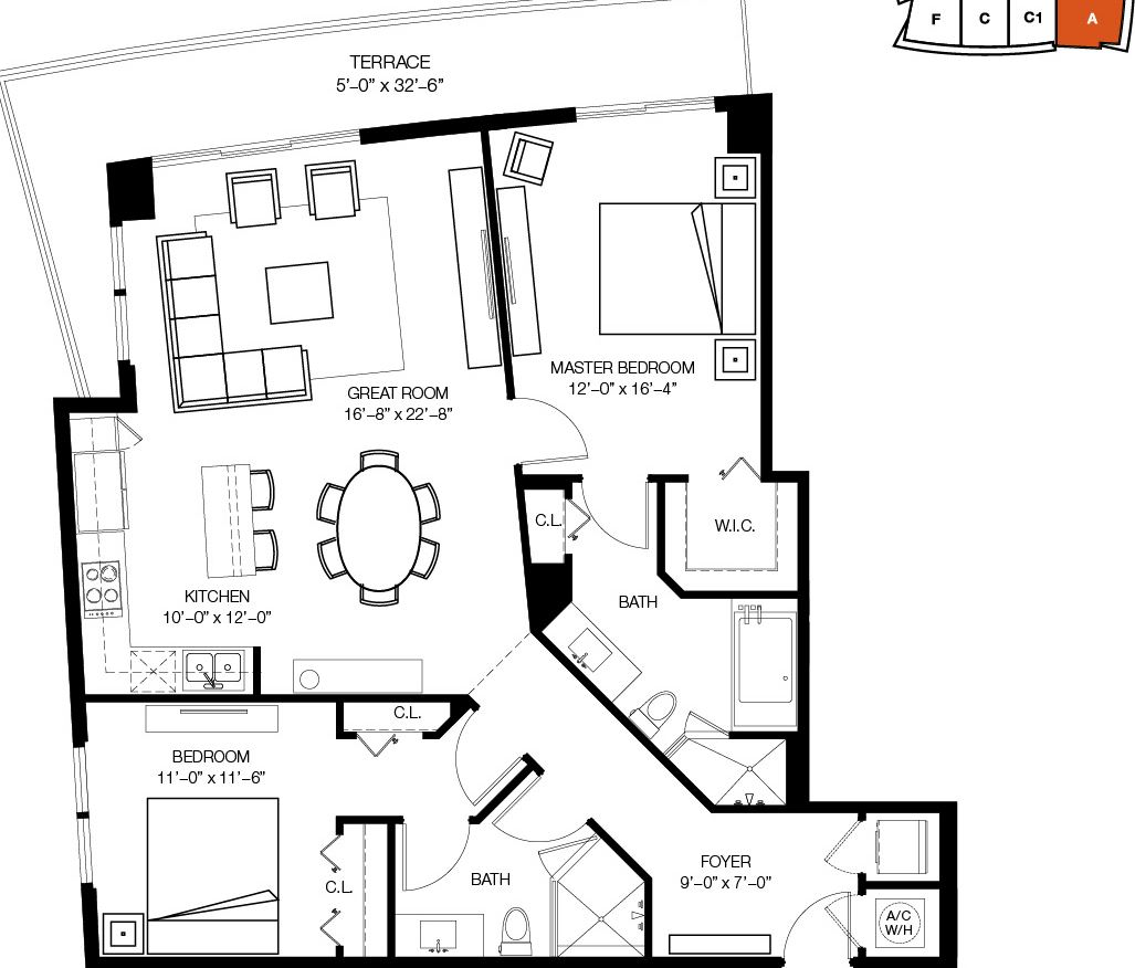 Floor plan for 1100 Millecento Brickell Miami, model A, line 01, 2/2 bedrooms, 1,432 sq ft