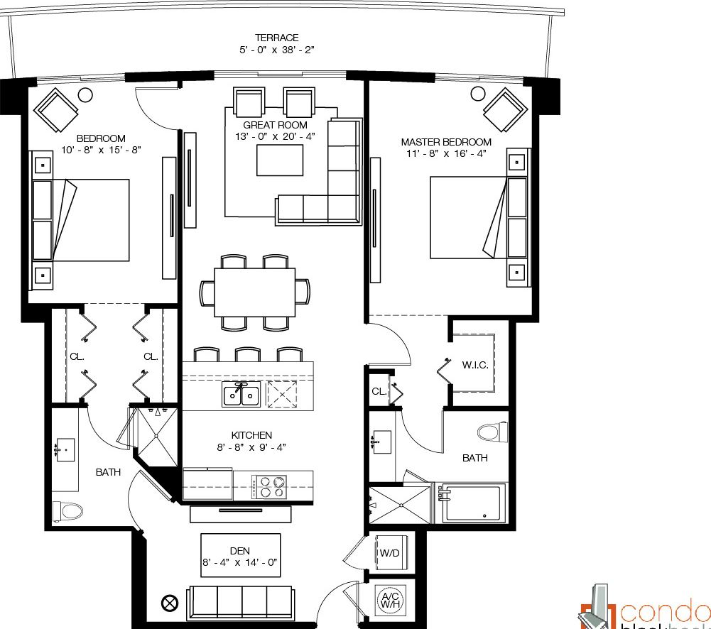 Floor plan for 1100 Millecento Brickell Miami, model B, line 11, 2/2+Den bedrooms, 1,462 sq ft