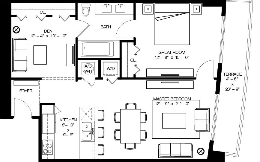 Floor plan for 1100 Millecento Brickell Miami, model C, line 03, 1/1+Den bedrooms, 1,058 sq ft
