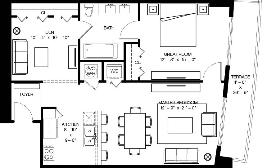 Floor plan for 1100 Millecento Brickell Miami, model C1, line 02, 1/1 bedrooms, 1,017 sq ft