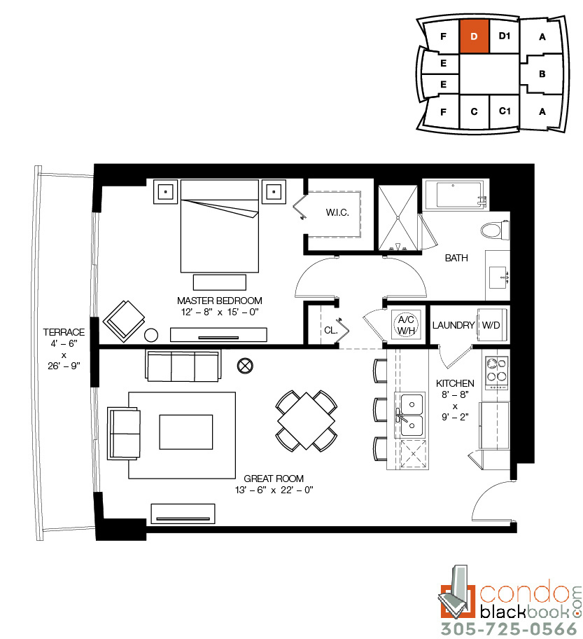 Floor plan for 1100 Millecento Brickell Miami, model D, line 08, 1/1 bedrooms, 958 sq ft