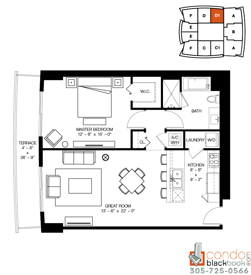 Floor plan for 1100 Millecento Brickell Miami, model D1, line 09, 1/1 bedrooms, 922 sq ft