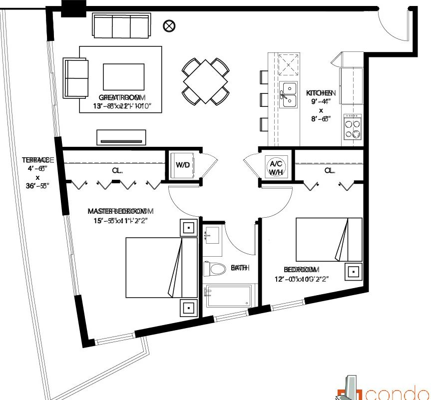Floor plan for 1100 Millecento Brickell Miami, model F, line 04, 2/1 bedrooms, 1,140 sq ft