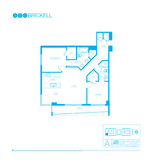 Floor plan for 500 Brickell Brickell Miami, model A, line 02, 2/2 +Den bedrooms, 1215 sq ft