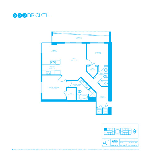 Floor plan for 500 Brickell Brickell Miami, model A1, line 01, 2/2 +Den bedrooms, 1244 sq ft