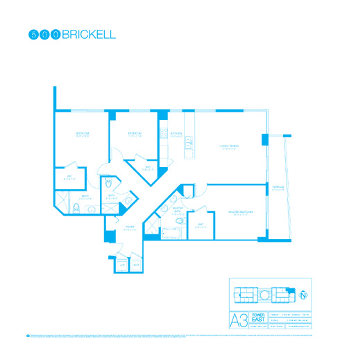 Floor plan for 500 Brickell Brickell Miami, model A3, line 01, 3/3 bedrooms, 1616 sq ft