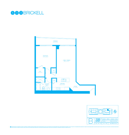 Floor plan for 500 Brickell Brickell Miami, model B, line 03, 2/2 +Den bedrooms, 1238 sq ft