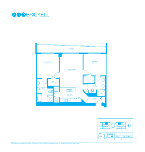 Floor plan for 500 Brickell Brickell Miami, model B1, line 05, 2/2 +Den bedrooms, 1209 sq ft