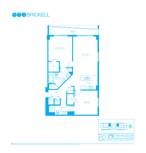 Floor plan for 500 Brickell Brickell Miami, model B2, line 07, 2/2 +Den bedrooms, 1289 sq ft