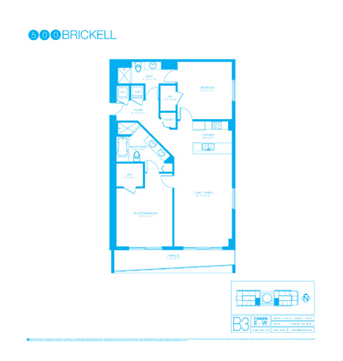 Floor plan for 500 Brickell Brickell Miami, model B3, line 10, 2/2 +Den bedrooms, 1319 sq ft