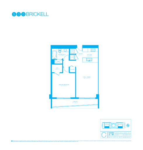Floor plan for 500 Brickell Brickell Miami, model C, line 04,06,08, 1/1 bedrooms, 811 sq ft