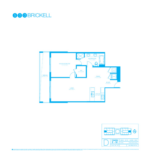 Floor plan for 500 Brickell Brickell Miami, model D, line 00, 1/1 bedrooms, 901 sq ft