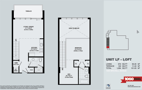 Floor plan for Avenue 1060 Brickell Brickell Miami, model 1stAve_LF_Loft, 1/2 +Den bedrooms, 972 sq ft