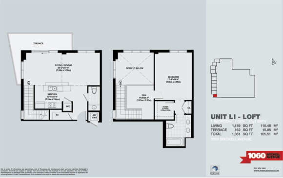 Floor plan for Avenue 1060 Brickell Brickell Miami, model 1stAve_LI_Loft, 1/1.5 +Den bedrooms, 1189 sq ft