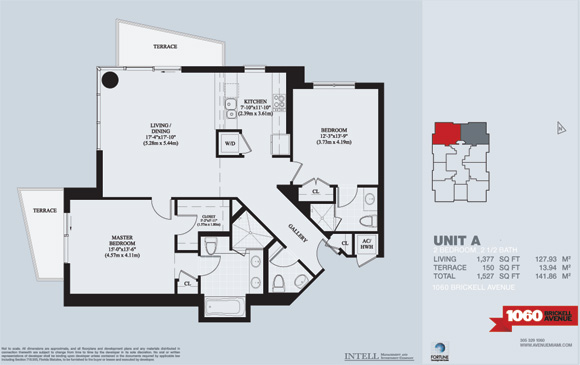 Floor plan for Avenue 1060 Brickell Brickell Miami, model Brickell_A, 2/2.5 bedrooms, 1377 sq ft