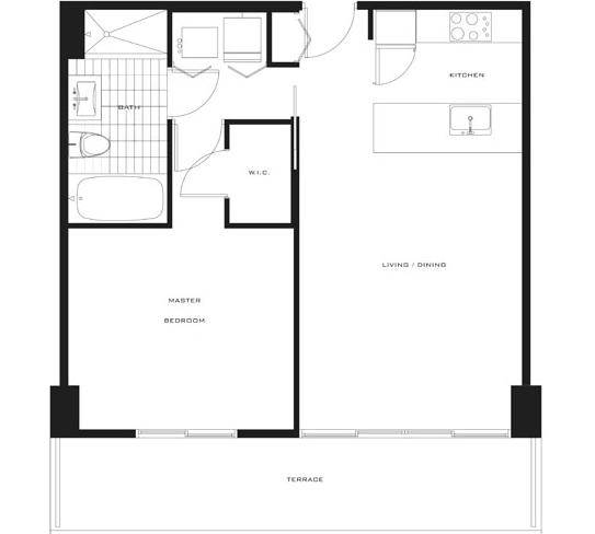 Floor plan for Axis Brickell Miami, model B1, line 02,11,21,05,24, 1/1 bedrooms, 734 sq ft