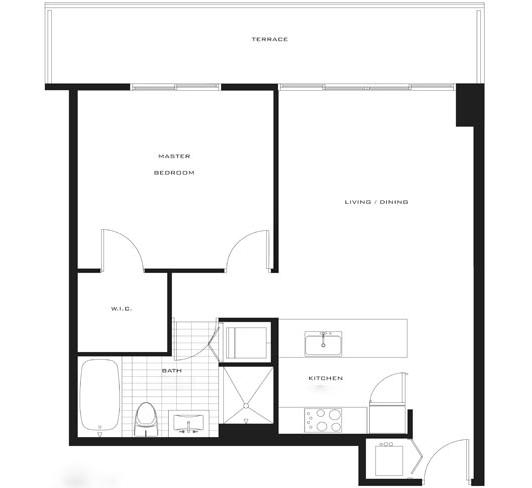 Floor plan for Axis Brickell Miami, model B2, line 15,08,21,18, 1/1 bedrooms, 761 sq ft