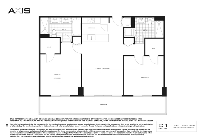 Floor plan for Axis Brickell Miami, model C1, line 23,03,04,22, 2/2 bedrooms, 1076 sq ft