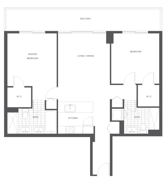Floor plan for Axis Brickell Miami, model C2, line 16,10, 2/2 bedrooms, 1119 sq ft