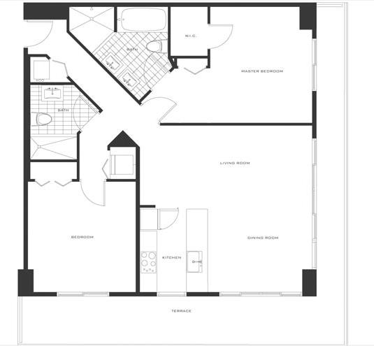 Floor plan for Axis Brickell Miami, model D, line 07,06,14,25,12,20,01,, 2/2 bedrooms, 1174 sq ft