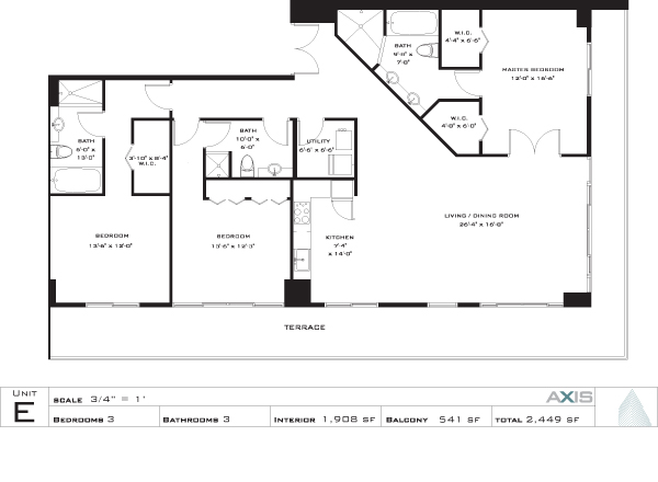 Floor plan for Axis Brickell Miami, model E, line 06, 3/3 bedrooms, 1908 sq ft