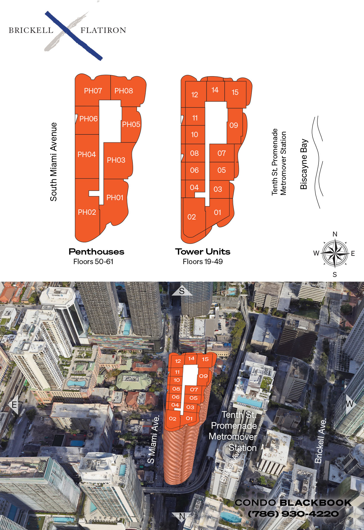 Brickell Flatiron floorplan and site plan