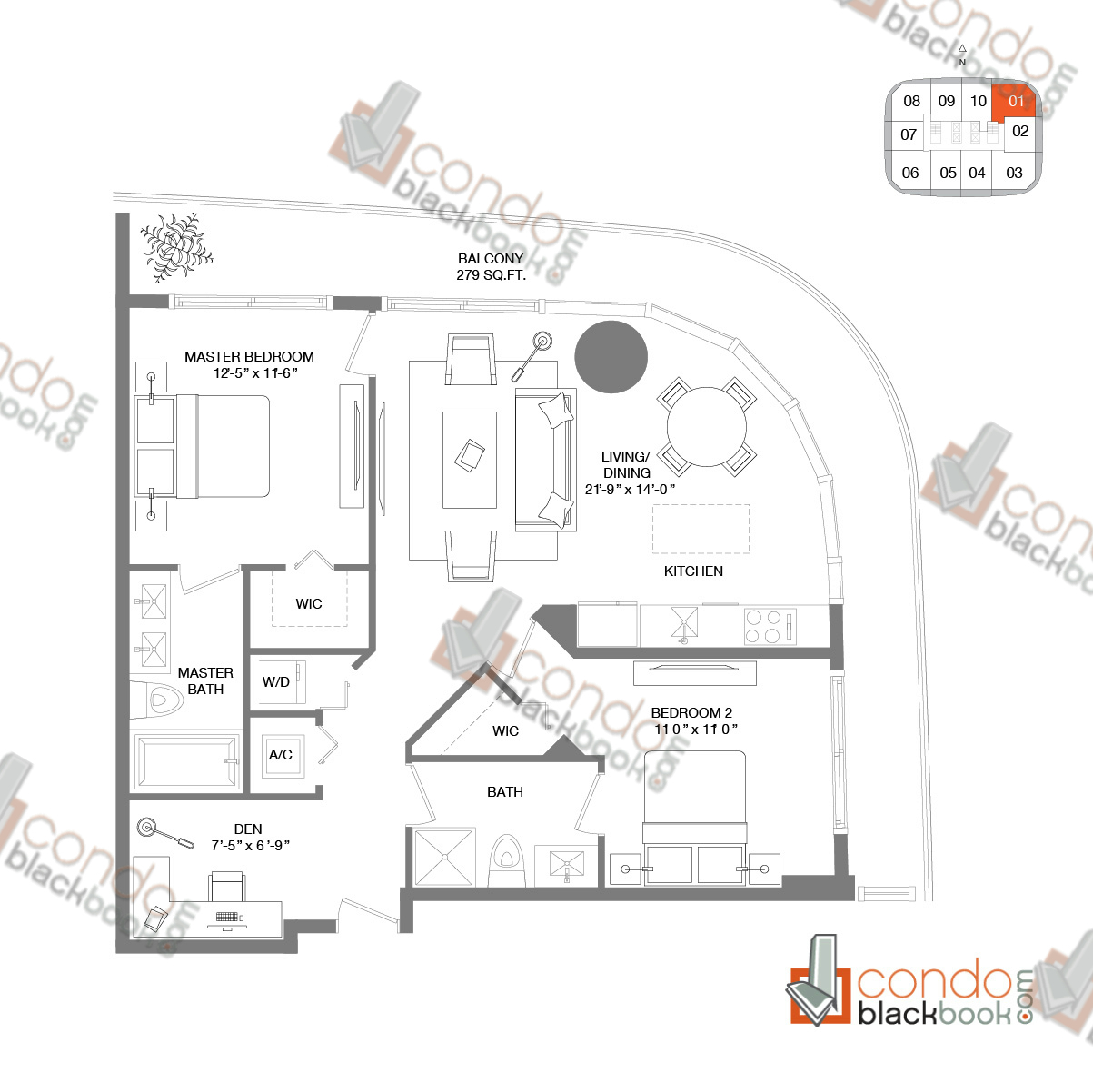 Floor plan for Brickell Heights West Tower Brickell Miami, model RESIDENCE 01, line 01, 2/2+Den bedrooms, 1,040 sq ft