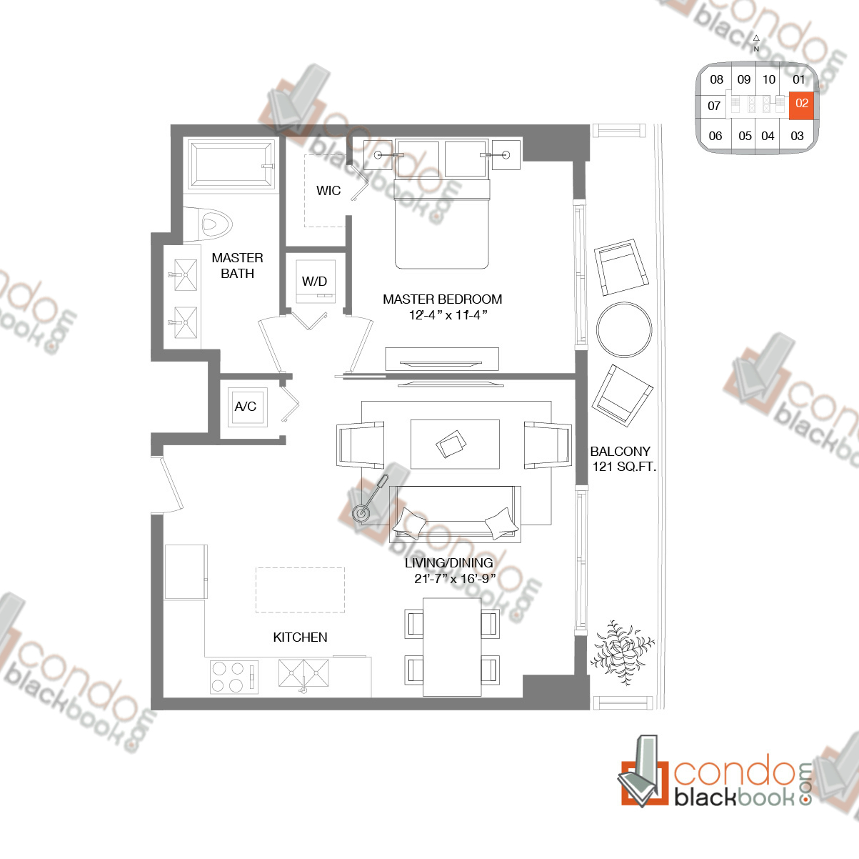 Floor plan for Brickell Heights West Tower Brickell Miami, model RESIDENCE 02, line 02, 1/1 bedrooms, 682 sq ft