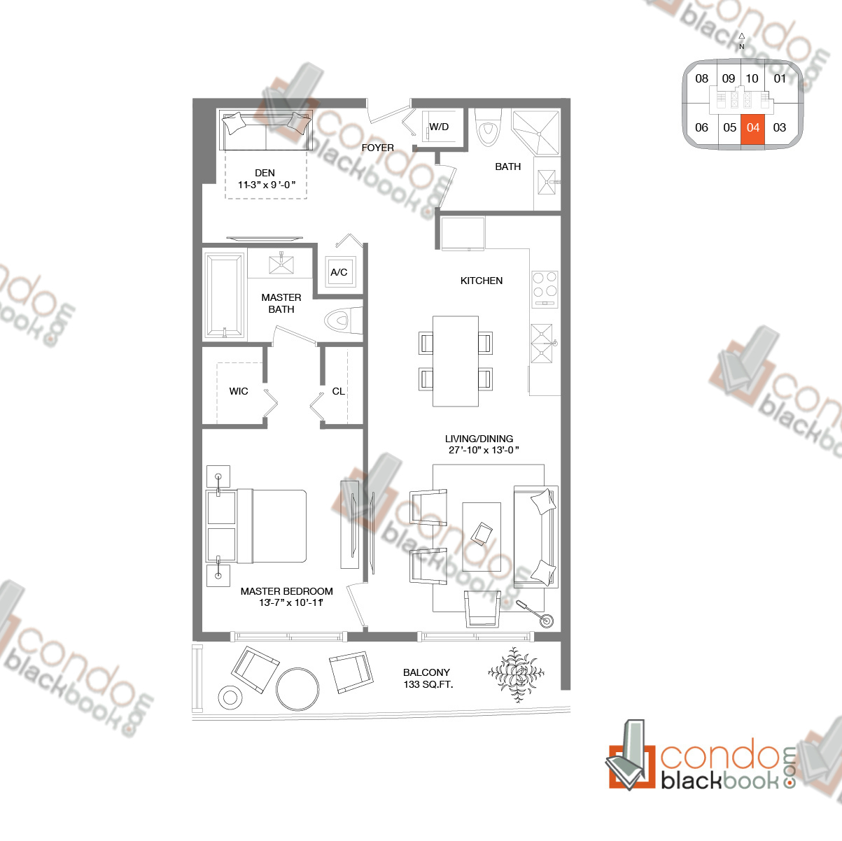 Floor plan for Brickell Heights West Tower Brickell Miami, model RESIDENCE 04, line 04, 1/2+Den bedrooms, 962 sq ft