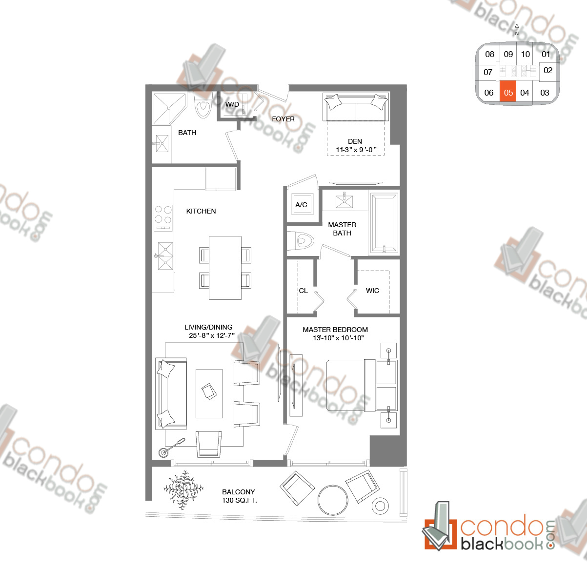 Floor plan for Brickell Heights West Tower Brickell Miami, model RESIDENCE 05, line 05, 1/2+Den bedrooms, 944 sq ft