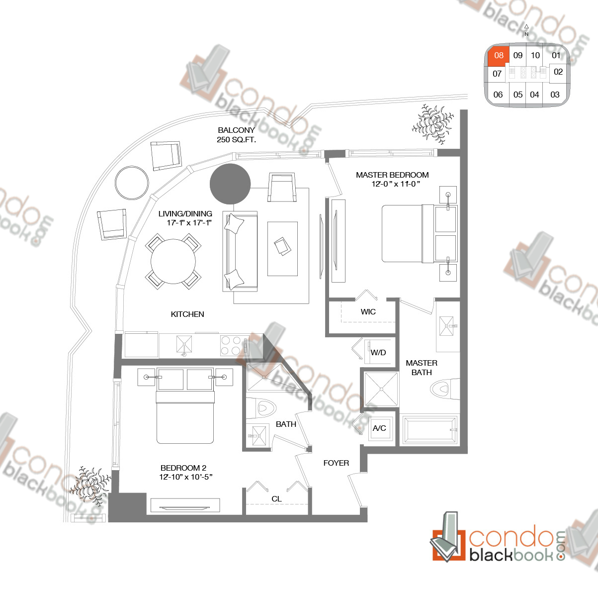 Floor plan for Brickell Heights West Tower Brickell Miami, model RESIDENCE 08, line 08, 2/2 bedrooms, 900 sq ft