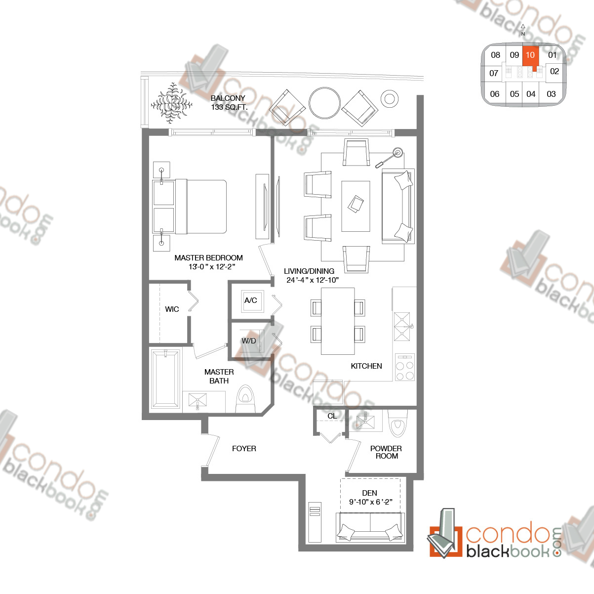 Floor plan for Brickell Heights West Tower Brickell Miami, model RESIDENCE 10, line 10, 1/1+Den bedrooms, 904 sq ft