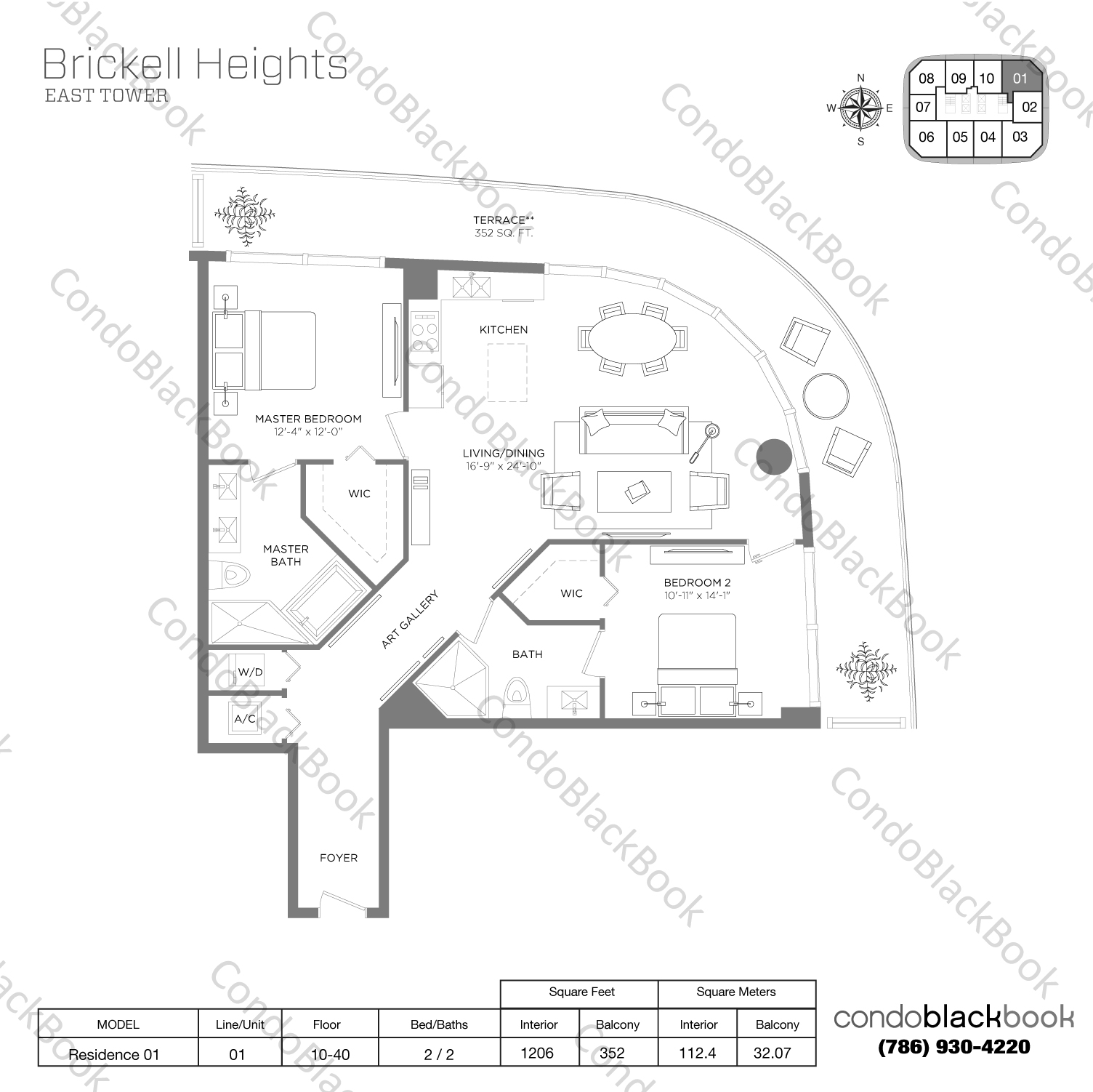 Floor plan for Brickell Heights East Tower Brickell Miami, model Residence 01, line 01, 2/2 bedrooms, 1,206 sq ft