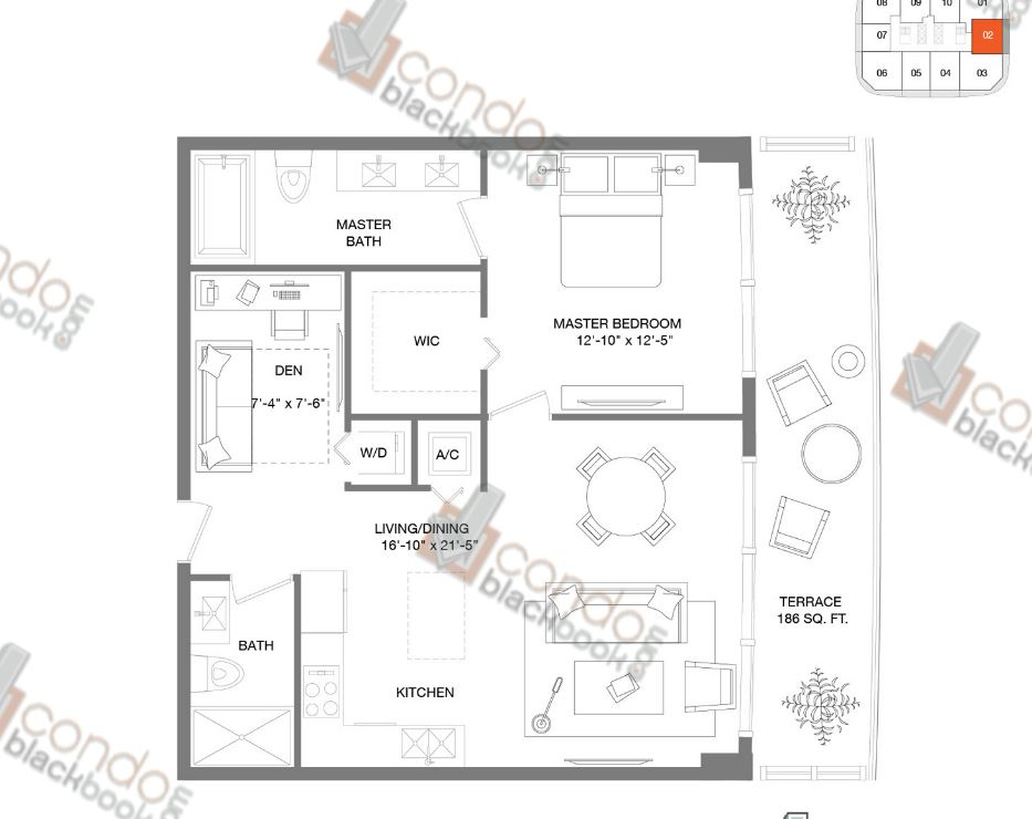 Floor plan for Brickell Heights East Tower Brickell Miami, model Residence 02, line 02, 1/2+DEN bedrooms, 859 sq ft