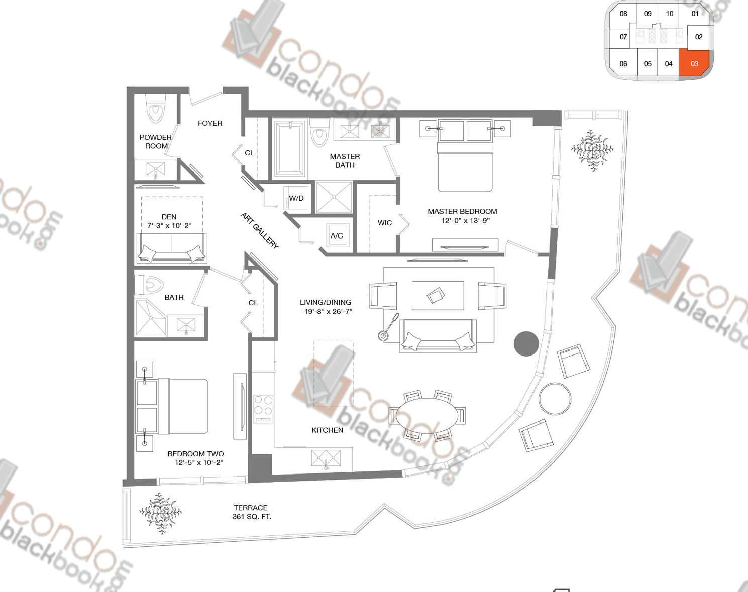Floor plan for Brickell Heights East Tower Brickell Miami, model Residence 03, line 03, 2/2.5+DEN bedrooms, 1,276 sq ft