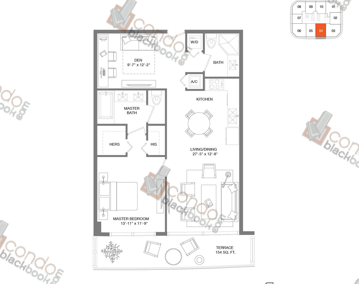 Floor plan for Brickell Heights East Tower Brickell Miami, model Residence 04, line 04, 1/2+DEN bedrooms, 960 sq ft