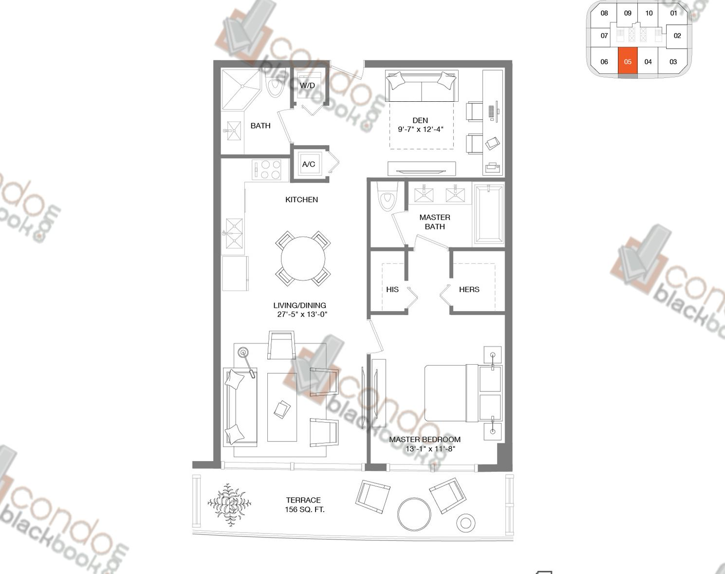 Floor plan for Brickell Heights East Tower Brickell Miami, model Residence 05, line 05, 1/2+DEN bedrooms, 965 sq ft