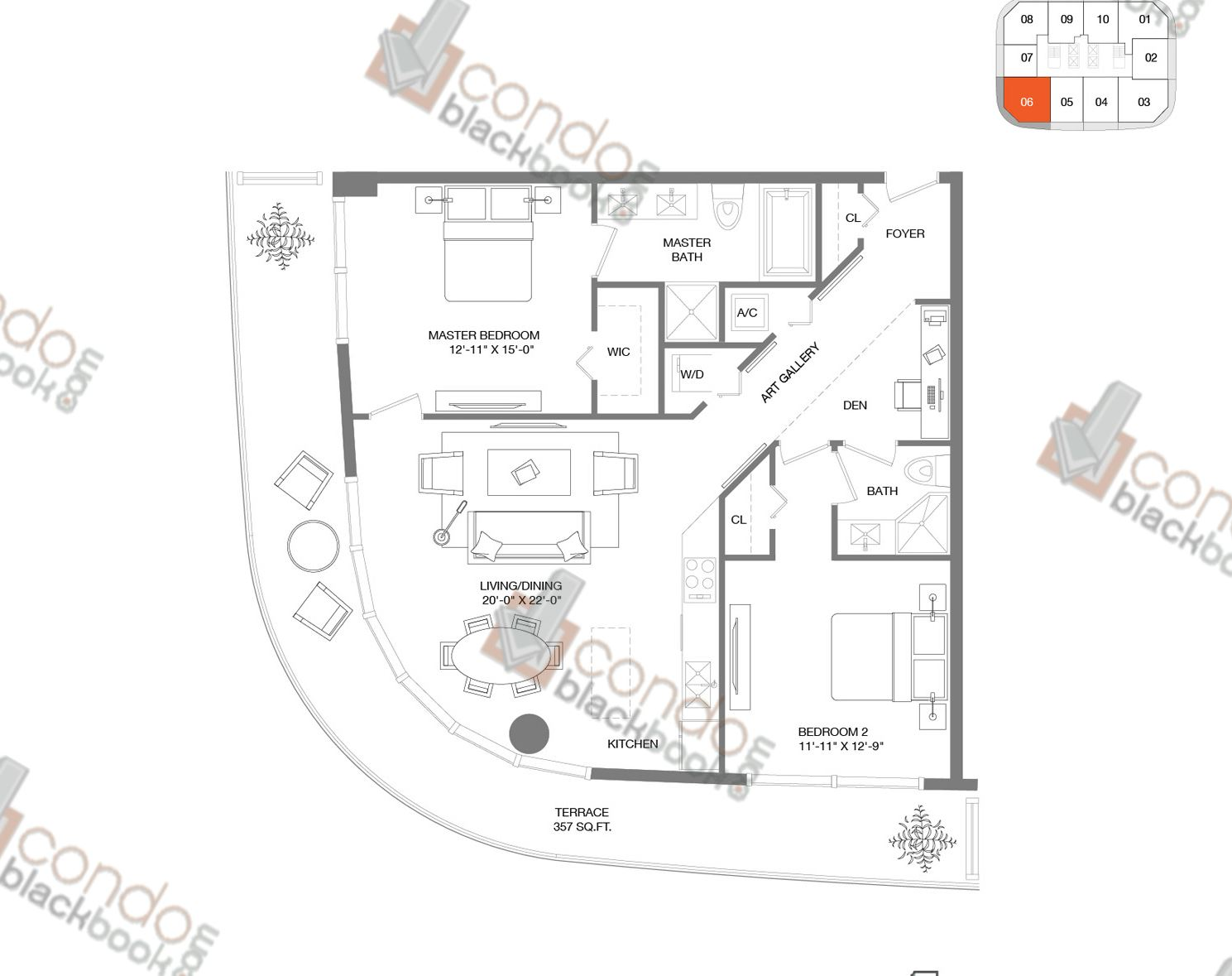 Floor plan for Brickell Heights East Tower Brickell Miami, model Residence 06, line 06, 2/+DEN bedrooms, 1,178 sq ft