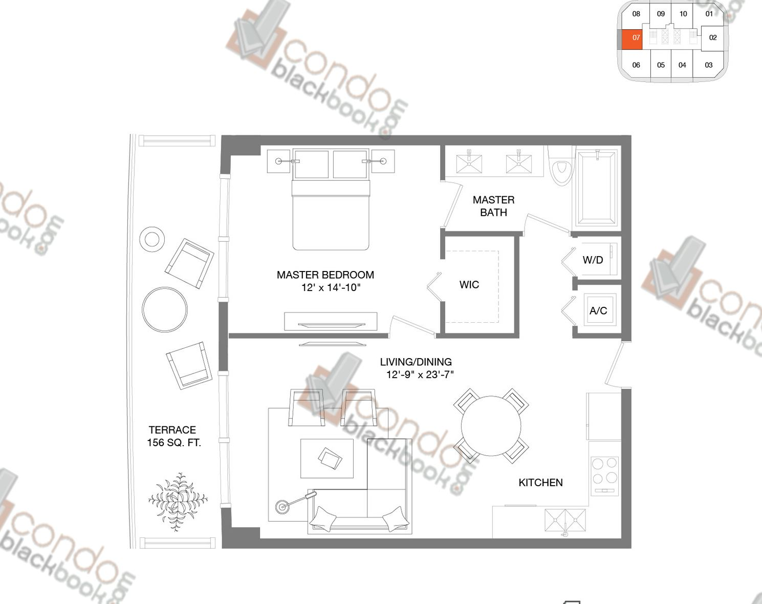 Floor plan for Brickell Heights East Tower Brickell Miami, model Residence 07, line 07, 1/1 bedrooms, 676 sq ft