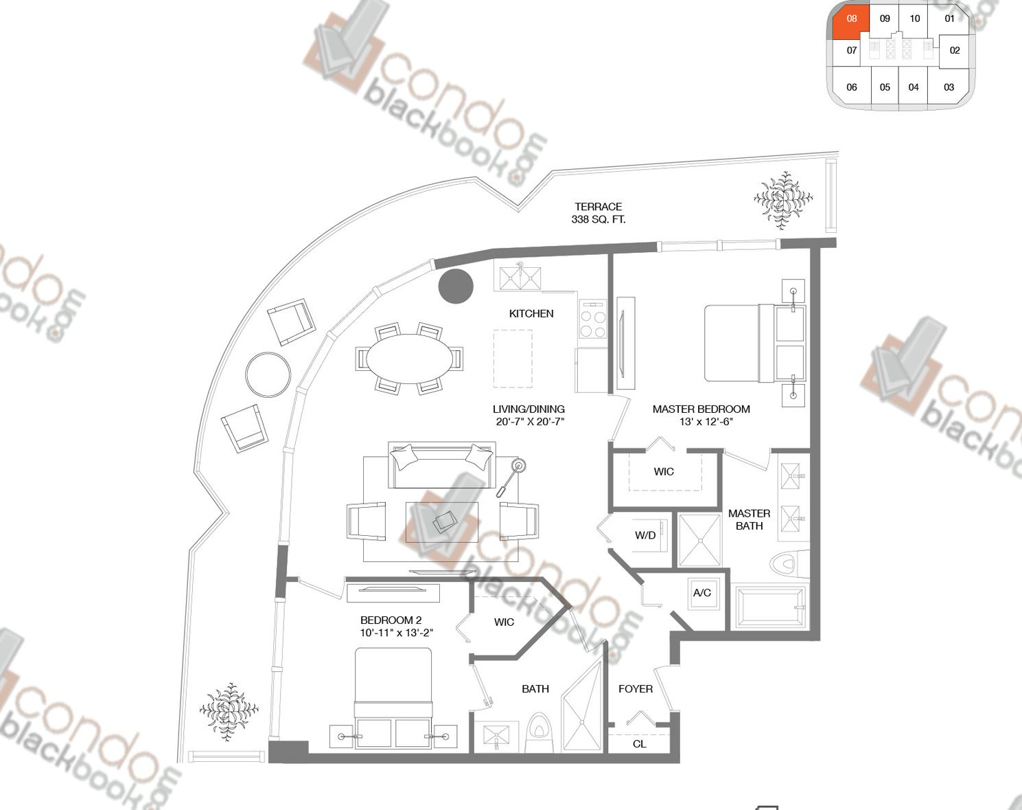 Floor plan for Brickell Heights East Tower Brickell Miami, model Residence 08, line 08, 2/2 bedrooms, 1,054 sq ft