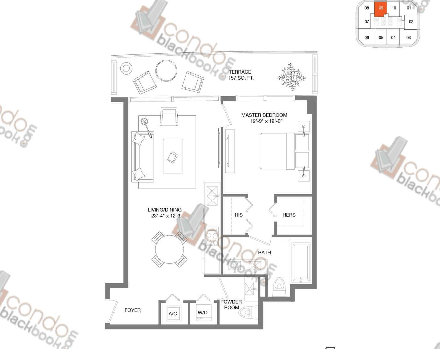 Floor plan for Brickell Heights East Tower Brickell Miami, model Residence 09, line 09, 1/1.5 bedrooms, 856 sq ft
