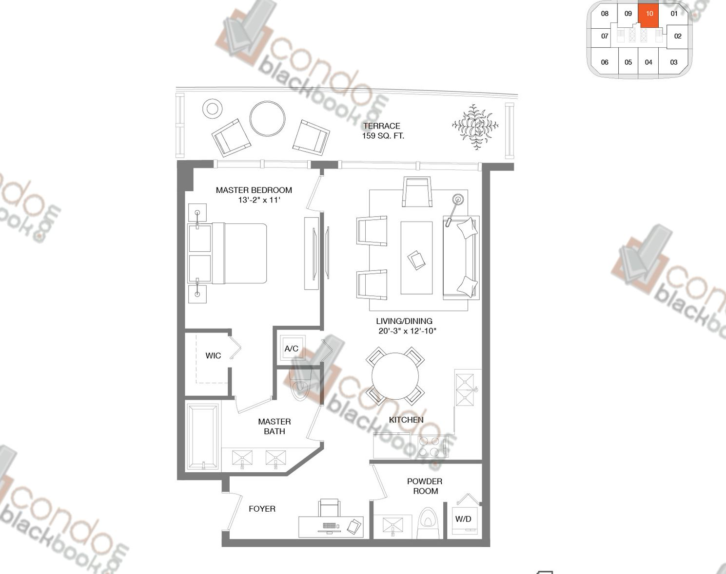 Floor plan for Brickell Heights East Tower Brickell Miami, model Residence 10, line 10, 1/1.5 bedrooms, 843 sq ft