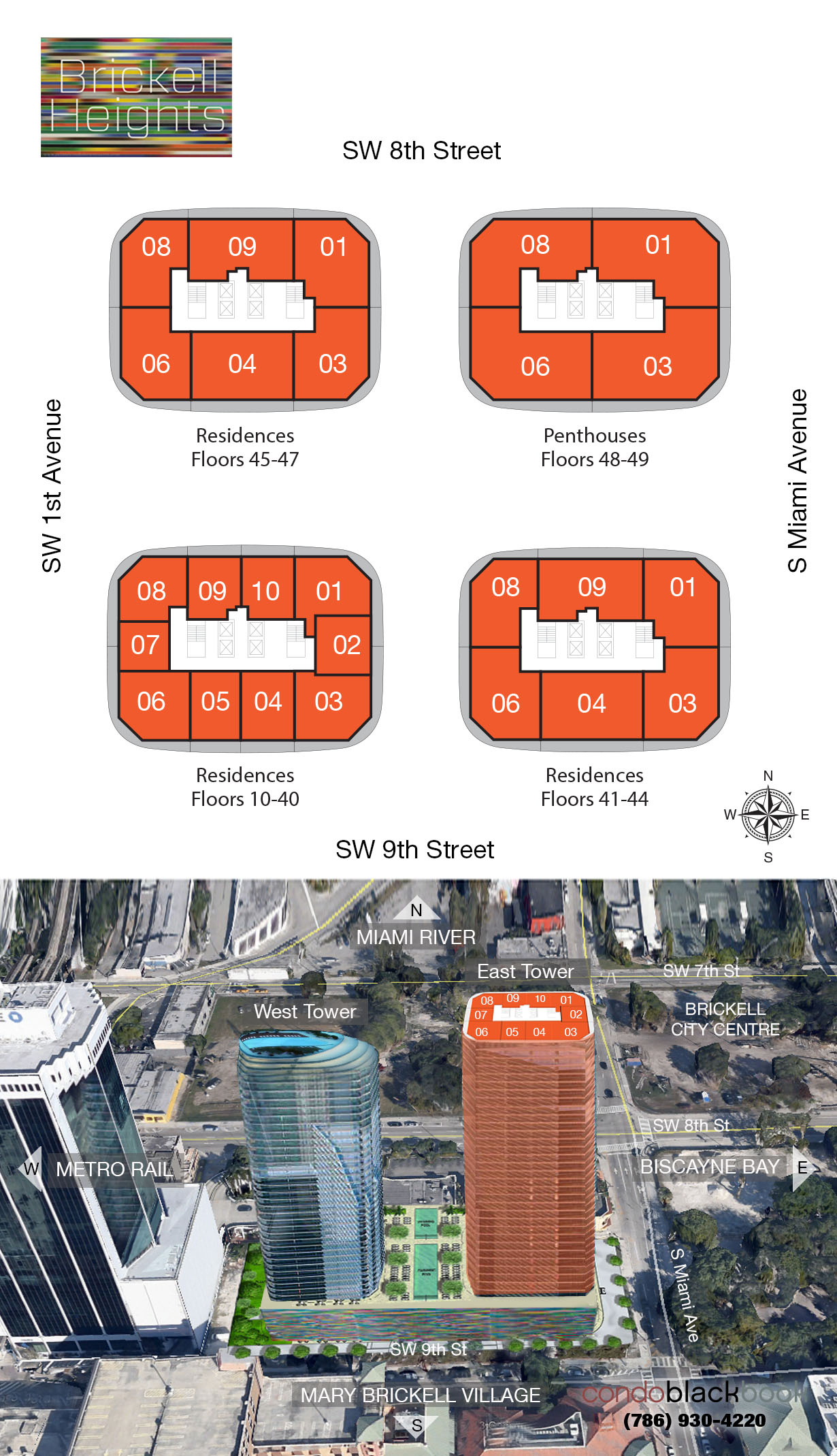Brickell Heights East Tower floorplan and site plan