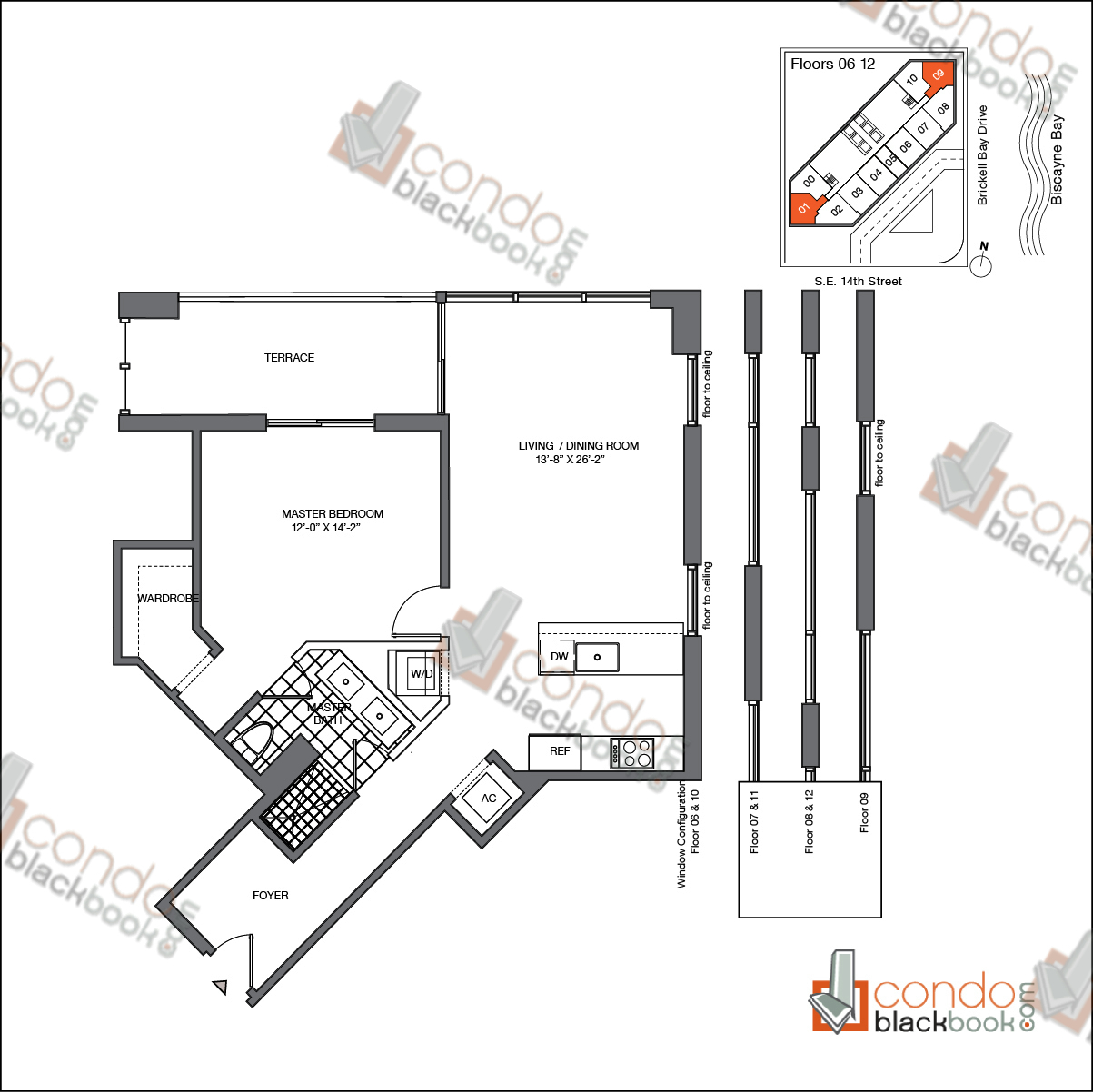 Floor plan for Brickell House Brickell Miami, model A1_6-12, line 01, 09, 1/1 bedrooms, 863 sq ft
