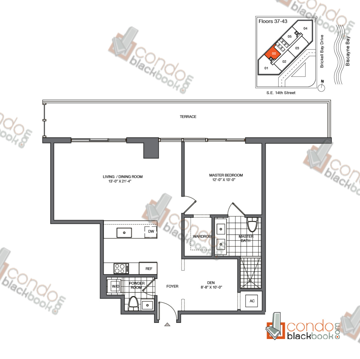 Floor plan for Brickell House Brickell Miami, model A2_37-43, line 00, 1/1.5 + Den bedrooms, 965 sq ft