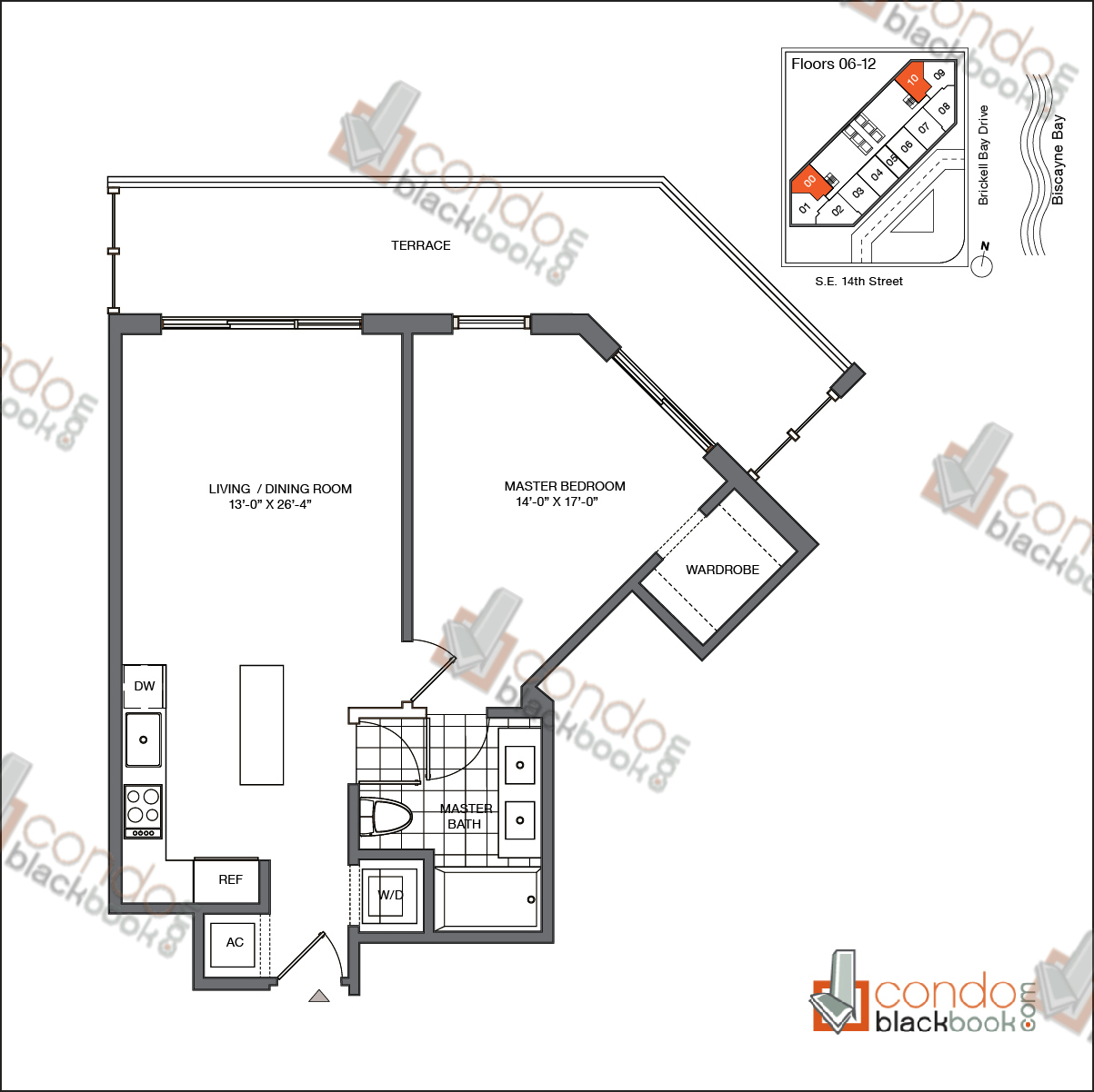 Floor plan for Brickell House Brickell Miami, model A3_6-12, line 00, 10, 1/1 bedrooms, 725 sq ft