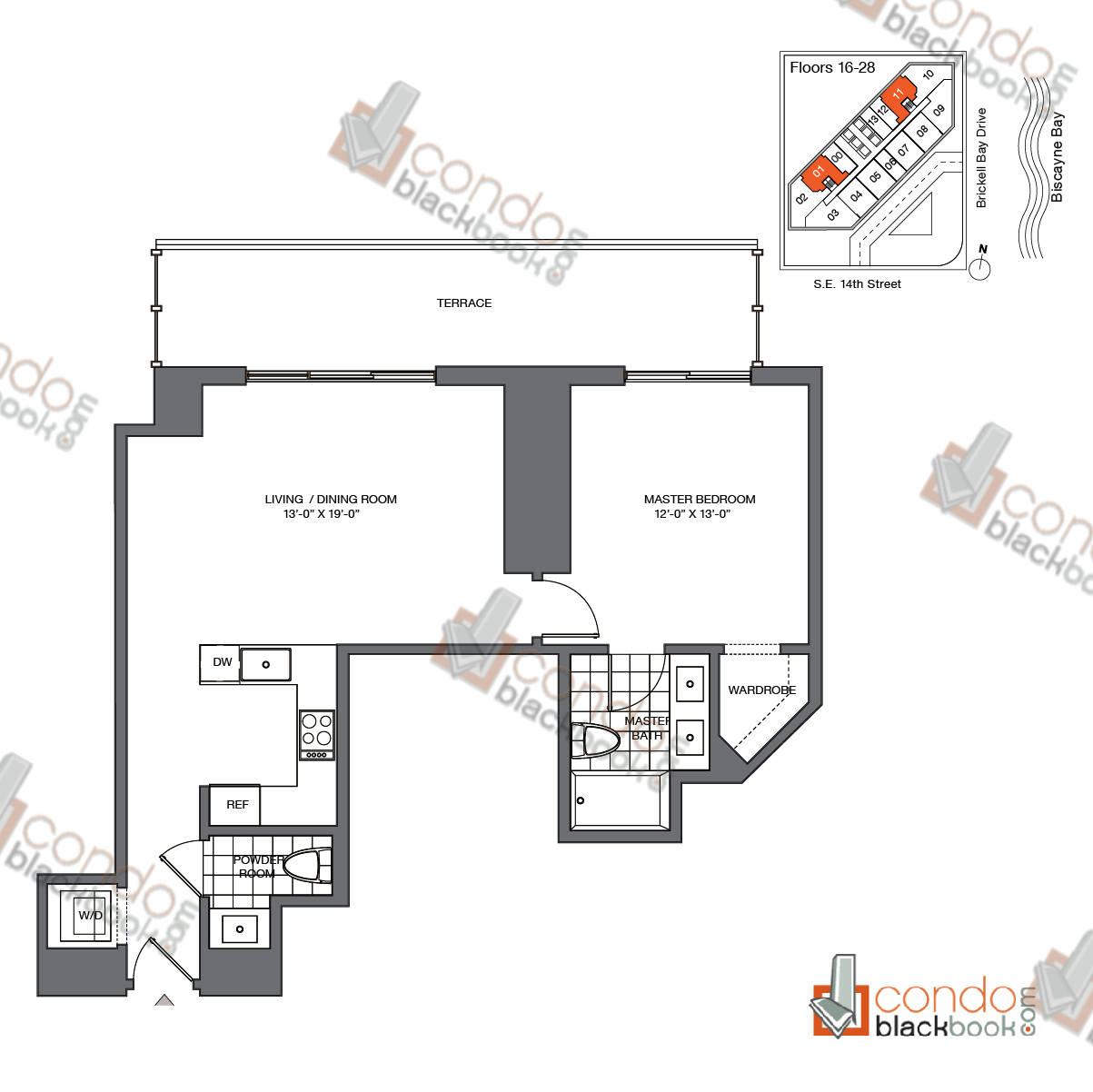 Floor plan for Brickell House Brickell Miami, model A5_16-28, line 01, 11, 1/1 bedrooms, 790 sq ft