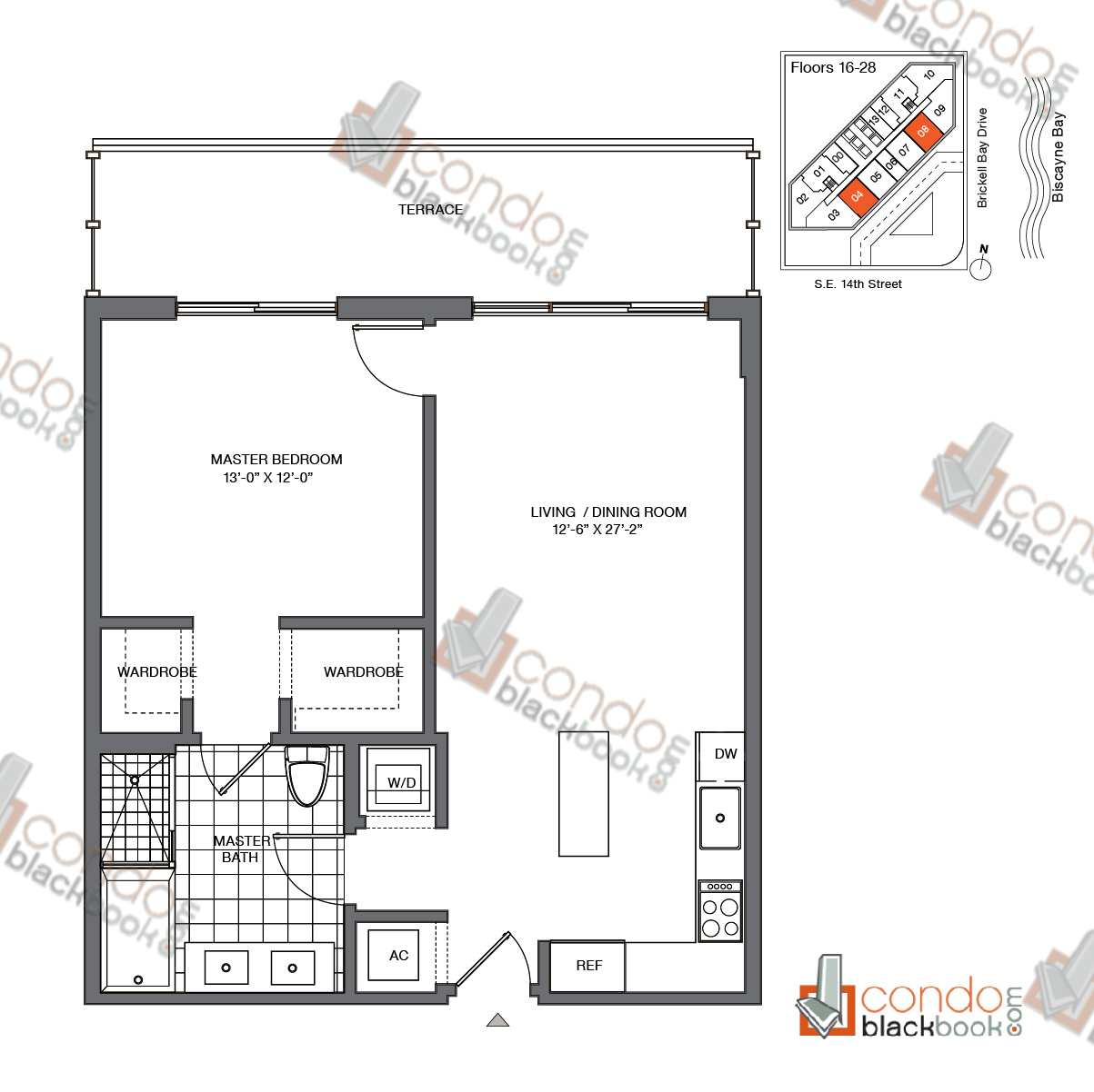 Floor plan for Brickell House Brickell Miami, model A6_16-28, line 04, 08, 1/1 bedrooms, 792 sq ft